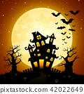 Halloween night background with castle, bats 42022649