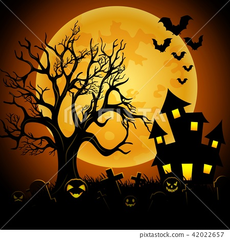Halloween night background with creepy castle 42022657