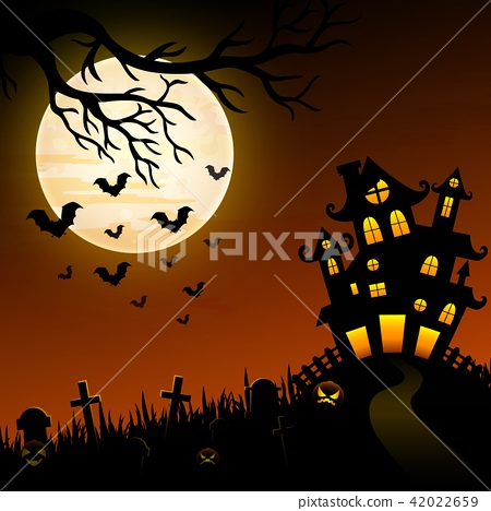 Halloween night background with creepy castle 42022659