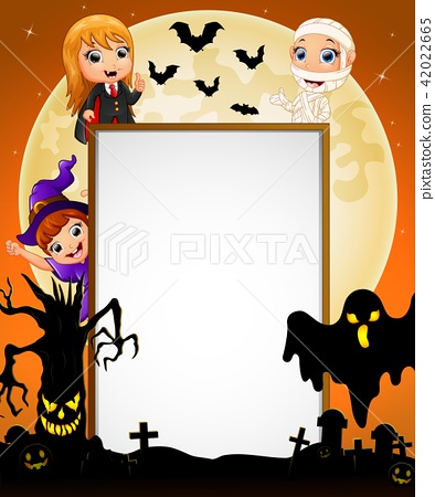 Halloween sign with dracula and mummy and witch 42022665