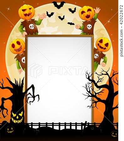 Halloween sign with kid wearing pumpkin mask 42022672