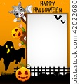 Halloween sign with black ghost 42022680