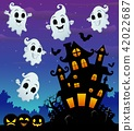 Halloween night background with flying ghost 42022687