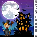 Halloween night background with little boy witch 42022688