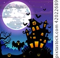 Halloween night background with black ghost 42022689