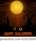 Halloween night background with pumpkins 42022699