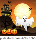 Halloween background with flying ghost and pumpkin 42022765