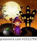 Halloween background with girl witch holding broom 42022768