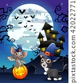 Halloween background with child bats witch 42022771
