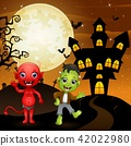 Halloween background with red devil 42022980