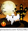 Halloween background with ghost and pumpkin 42022982