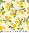 Yellow Marigold Seamless on Beige Ivory Background 42023435