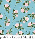 Pink Rose Bouquet on Blue Background 42023437