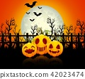 Halloween background with happy pumpkins 42023474