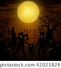Halloween background with zombies, tombstones 42023826