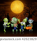 Zombies party cartoon Halloween costumes 42023829