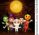 Happy little kids wearing costume halloween 42023830