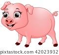 Vector illustration of Cute baby pig cartoon 42023932