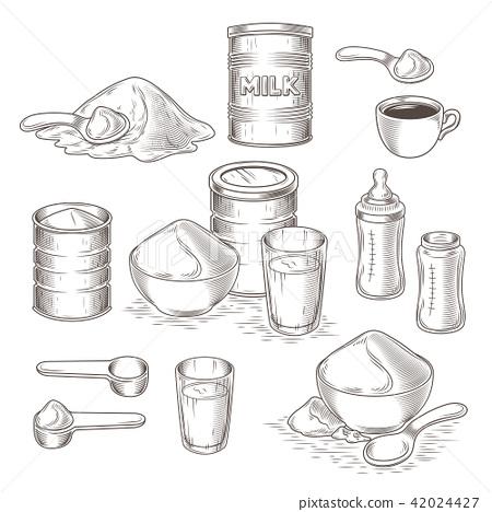set of cartoon illustration of milk powder 42024427