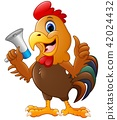 Illustration of Cute rooster cartoon holding 42024432