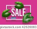 Summer sale banner with tropical green leaves back 42026083