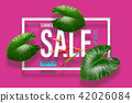 Summer sale banner with tropical green leaves heli 42026084