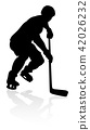 Silhouette Ice Hockey Player 42026232