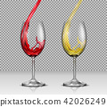 Set of illustrations of transparent glass wine glasses with white and red wine pouring in them 42026249