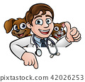 Cartoon Vet Cat and Dog Characters Sign 42026253