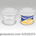 realistic illustration of empty plastic transparent buckets for food products 42026255