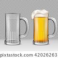 realistic illustration of two transparent glass mugs - one full of beer with foam, the other is 42026263