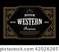 Western label antique frame vintage engraving 42026265