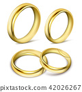 Set of realistic illustrations of gold wedding rings with shadow 42026267