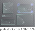 illustration set of transparent glass plates with cracks, cracked panels 42026276