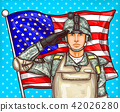 pop art illustration for a memorial day - a male soldier against an American flag 42026280