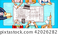 pop art illustration of a man and a woman sitting at a negotiation table top view 42026282