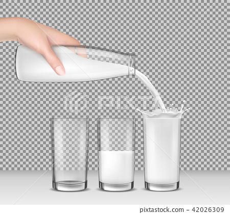 realistic illustration, hand holding a glass bottle of milk, milk pouring into drinking glasses 42026309