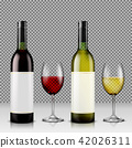 Set of realistic illustration of glass wine bottles and glasses with white and red wine 42026311