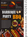 illustration of a bbq menu template, invitation card on a barbecue, gift certificate 42026315