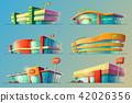 Set of cartoon illustrations, various supermarket buildings, shops, large malls, stores 42026356