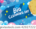 Vector hand drawn Doodle Big Cleaning Day Colorful illustration. Sketchy design background with 42027222