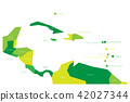 Map of Central America and Caribbean. Simlified schematic vector map in shades of green 42027344