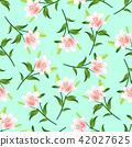 Pink Lily on Green Mint Background 42027625