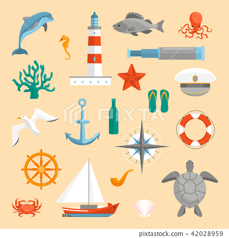 Cartoon Color Sea Icons Set. Vector 42028959