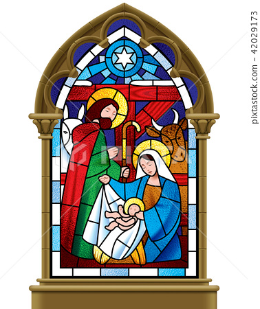 Christmas stained glass window in gothic frame 42029173