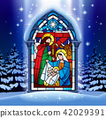 Christmas stained glass window in winter forest 42029391