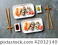Japanese sushi with soy sauce and wasabi. Top view 42032140