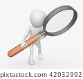 3D figure with magnifying glass 42032992