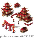 A set of architectural elements in Oriental style. Pagoda house and gate black and red color. Vector 42033237