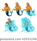 Stage of freezing and thawing of sailor mermaid man isolated on white background. Vector cartoon 42033248